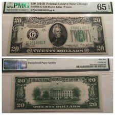 VINTAGE pmg 65 EPQ $20 VINSON 1934-B TWENTY CHICAGO FEDERAL RESERVE NOTE UNC