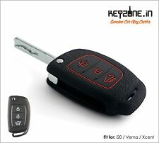 KeyZone Silicone Key Cover fit for New i20, Verna, Xcent Flip Key (Black)