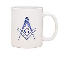 Masonic Gifts - White Ceramic Mug Square & Compass imprint - 11oz Coffee Mug