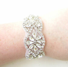 White Silver Bridal Bracelet Diamante Seed Bead Satin Cuff Jewellery Vtg 1042