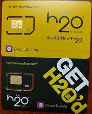 LOT OF 100 PREPAID FACTORY REGULAR SIM CARD H2O WIRELESS SIM CARD
