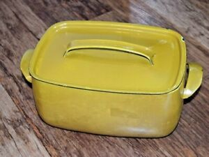 VINTAGE RETRO FRENCH AUBECQ CAST IRON/ENAMEL CASSEROLE PAN Mustard Yellow