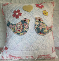 NEW Handmade Love Birds & Flowers Pillow Vintage Quilt  Chenille Bedspread Cute!