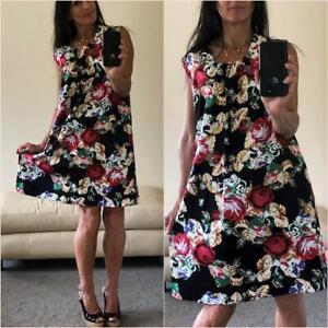 FOLK DRESS plus size 18 20 CROSS STITCH print FLORAL SHIFT MIDI red black white