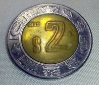 Mexico 2 Pesos Coin 1999 Mo Bi-Metallic