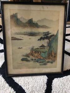 Ancien Tableau cadre paysage japon japan art asiatique