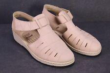 C1316 Brödel Damen Sandalen Riemchen-Schuhe Leder beige Gr. 41 Massagefußbett