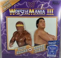 Funko WWE Wrestlemania 3 III T-shirt XL Hulk Hogan Andre the Giant Display Ring