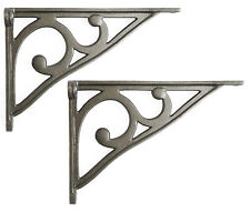 "Pair 8"" Cast Iron Scroll Shelf Brackets Victorian Book Antique Cistern Sink Wall"