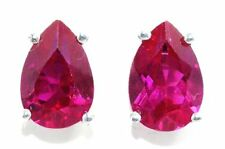 5 Ct Created Ruby 10x7mm Pear Stud Earrings White Gold Silver