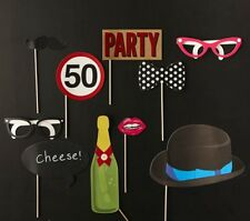 10pcs 50th Birthday Party Photo Booth Props Games Accessories Favours
