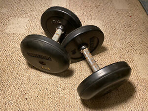 Pair of Ivanko Rubber Coated 25Lb Dumbbells-Over 55Lbs Total