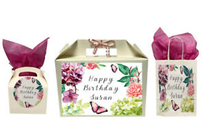 Personalised Happy Birthday Floral Gift Box Present Box Bag Collection Various
