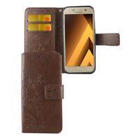 Samsung Galaxy A5 2017 Hülle Case Handy Cover Schutz Etui Flip Schutzhülle Braun