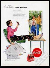 1954 Coke Coca-Cola woman on green Barcelona Chair art vintage print ad