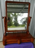 Mahogany Vanity / Toilet Mirror 2 Drawer Serpentine Sides Tilt - Antique