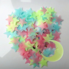 Multiple Color 100 PCS 3D Home Wall Ceiling Glow In The Dark Stars Moon Stickers