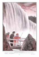 Waterfall.Guide.Water.Cartoon.Art.Humour.Antique.Bert Thomas caricature.1928.Old