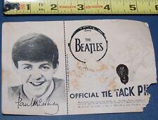 The BEATLES 1964 Paul McCartney Tie Tack Pin w/ Backing Card Seltaeb Vintage