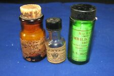 3 Vintage Mini Bottles+Label,Umbilical Cord Tape,W.F.Nye Clock Oil,Mallinckrodt