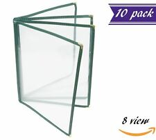 (10 Pack) 4 Page Book Fold Menu Covers, Green, 8 View, 8.5 x 11-inches Insert