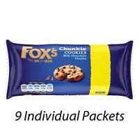 FOX'S CHUNKY COOKIES BISCUITS MILK CHOCOLATE CHUNKS 180g PACKS x 9 181426