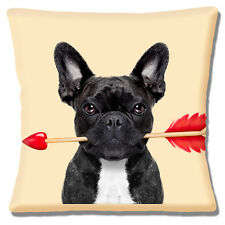 "BLACK WHITE FRENCH BULLDOG CUPID'S ARROW VALENTINE LOVE 16"" Pillow Cushion Cover"