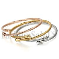 Women's Stainless Steel Twisted Cable Wire Adjustable Bangle Bracelet Cuff 3pcs