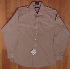 NWT, J. Ferrar Gold & Brown Dress Shirt 17 1/2 x 36/37 100% Cotton (LS-768)