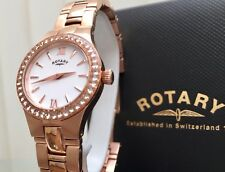 5g Rotary Ladies Rose Gold Watch Stainless Steel Quartz Diamond Stone Lb03501/07