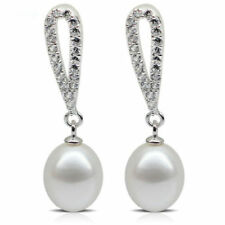Pearl Drop/Dangle Natural Stone Sterling Silver Fine Earrings