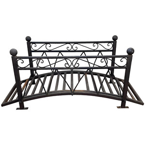 French Architectural Vintage Iron Metal Curved Garden Bridge Crossing Feature