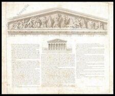 NIOBE TEMPIO GRECO FRONTONE STAMPA ORIGINALE 1800