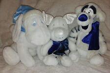 "White Plush Tigger Piglet Eeyore Kids 3 Toy Winter Blue DISNEY STORE 13"" Stuffed"
