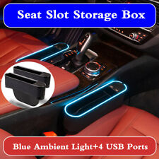 2x Car Seat Gap Catcher Storage Organizer Crevice Pocket Stowing Blue LED Light