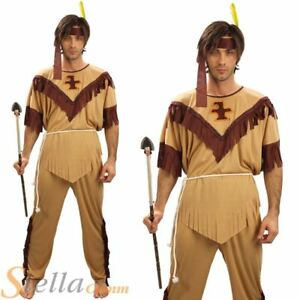 Mens Indian Native American Wild West Western Fancy Dress Costume Adult Outfit