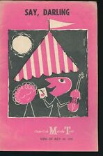 Playbill - Say, Darling - Cape Cod Melody Tent - July 1959 - Vintage