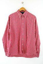 Tommy Hilfiger 80´s two Ply Cotton Herren Hemd Gr. L Langarm Rot / Weiß Shirt