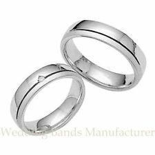 10K WHITE GOLD HIS & HERS MATCHING WEDDING BANDS SET MENS WOMENS BRIDAL SET RING