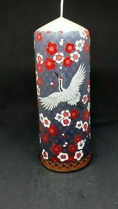 Japanese Crane  pillar candle. Hand Painted unusual, unique gift.