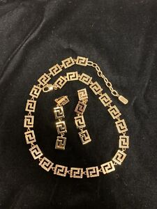 Authentic VERSACE Gold Greek Key Design Necklace with matching Clip Earrings