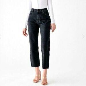 DL 1961 Womens Jeans Size 27 Black Jerry High Rise Vintage Straight Leg Fray Hem