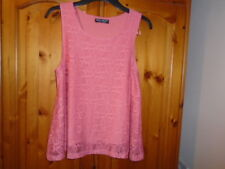 Pretty peach salmon lace sleeveless scoop neck summer swing top, SELECT, size 12
