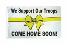 Support Our Troops Come Home Soon Flag Yellow Ribbon Banner Military Pennant 3x5