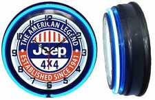 "JEEP 4X4 The American Legend SINCE 1941 18"" Blue Neon Clock Carbon Fiber Look"