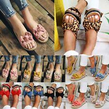 Women Ladies Flat Sandal Summer Casual Bow Peep Toe Wedge Flip Flops Beach Shoes