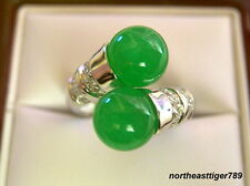 Double Emerald Green Jade 18KWGP Crystal Ring Size: 7.8.9