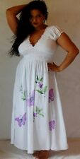 ZY479 white dress maxi sexy  boho one size M L XL 1X 2X hippy hand painted