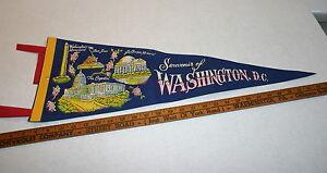 VINTAGE WASHINGTON DC FULL SIZE SOUVENIR PENNANT EXCELLENT CONDITION BLUE