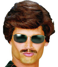 Mens Short Brown Wig Used Car Salesman George Michael Wham Fancy Dress